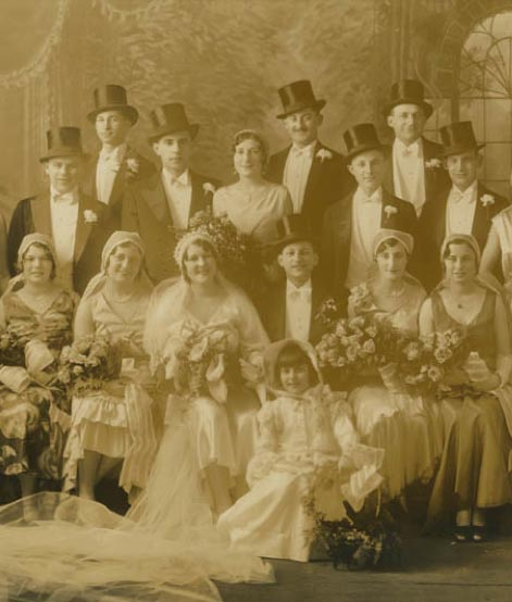 Marion Metz Greene and Leo Greene wedding party, March 2, 1930